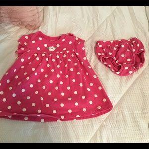 Carter's 9M Pink Polka Dot Dress.